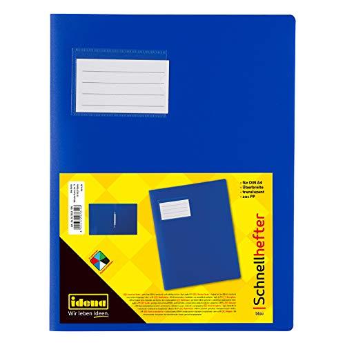 Idena 307854 - Schnellhefter für DIN A4, mit Überbreite, aus Polypropylen, transluzent blau, 1 Stück