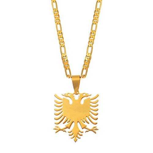 MaiYY WH Albanien Adle Anhänger Halskette Goldfarbe und Edelstahl Anhänger Halskette Ethnisches Geschenk für Frauen und Männer