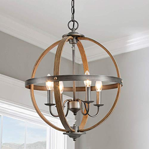 KSANA Farmhouse Chandelier, 4-Light Metal Light Fixture for Dining Room, Bedroom, Foyer, Entryway and Living Room(Faux Wood & Silver Brushed Finish)