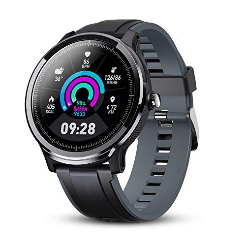 GOKOO Smart Watch Sport Activity Tracker Waterproof Smartwatch for Men with Blood Pressure Heart Rate Sleep Monitor Breathing Train Step Distance Calorie Full Touch Camera Music Control (Black-Gray)