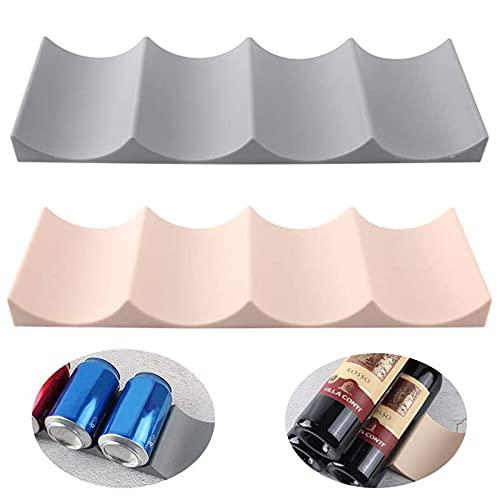 Botellero para Refrigerador de Plástico Organizador Botelleros Nevera para Botellas Apilable para Botellas De Vino para el Refrigerador Botellero Apilable Plastico Botellero de Mesa Estante(2 Piezas)