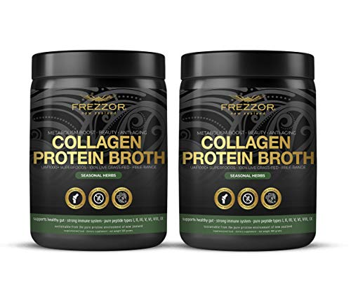Collagen Protein Bone Broth, 100% Grass-Fed New Zealand Bovine Collagen Peptides Type I II III V VI VIII IX, Joint Pain, Anti-Aging, Weight-Loss, Improves Digestion, Seasonal Herbs Flavor, 2-Pack