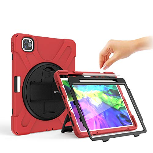 BRAECN iPad Pro Case 11 Inch 2020/2018, Rugged Heavy Duty Case with Screen Protector, Hand Strap, Shoulder Strap, Kickstand for iPad Pro 11 Inch A2228/A2068/A2230/A2231/A1980/A1934/A2013/A1979 -Red