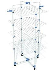 GIMI Modular Lux Stendibiancheria da Pavimento, Stendino Verticale, a Torre, Spazio di Stenditura 40 m, con Ruote, Acciaio, 71 x 71 x 168.5 cm