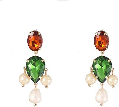 Gymqian Damas Pendientes Hechos a Mano Gota de Agua Verde Verde Diamantes de Imitación Encantos Pendientes de Marca de Moda Mujer Joyería Vintage Pendientes a Moda/A