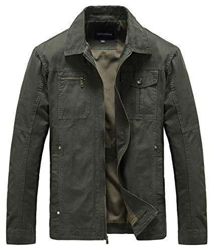 Heihuohua Men's Casual Military Jacket Cotton Field Jacket (Large, 29-Army Green)