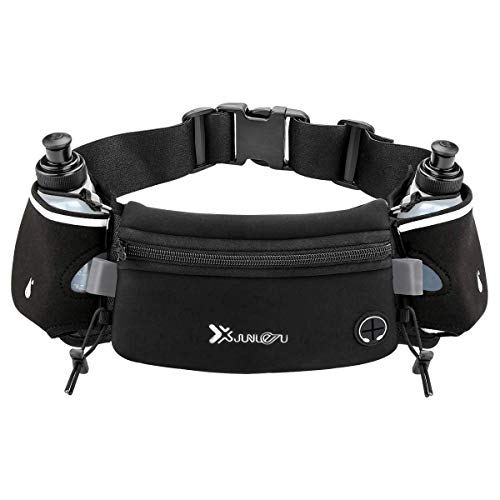 Number-one Running Belt with Water Bottles(2 x 175ML), Hydration Belt Waterproof Waist Pack Bag Fits iPhones Adjustable Sports Waist Pouch for Marathon Running Hiking Cycling