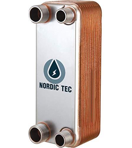 NORDIC TEC Ba-12-20 - Scambiatore di calore in acciaio INOX, 45 kW, 20 pannelli, 3/4&1/2'