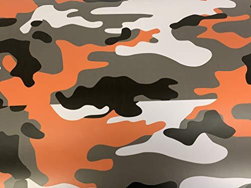 MJVINYL Camouflage Vinyl Film Wrap Decal Air Bubble Free Orange Black White Gray + Free Tool Kit (72' x 60' / 6FT x 5FT)