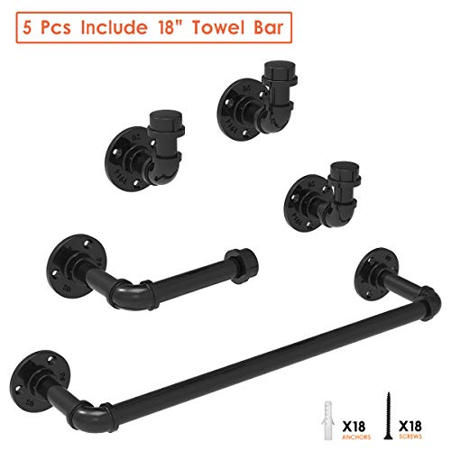 5-Pieces Industrial Pipe Bathroom Towel Holder Set, Rustic Farmhouse Black Towel Rack Kit Wall Mounted, Bath Accessories Hardware Includes 18 Inch Towel Bar, Toilet Paper Holder, 3 Robe Hooks