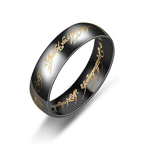 ERDING Fashion Cadeau/Mode Magic Letter Ring Zwart Zilver Goud RVS Ring heren en vrouwen
