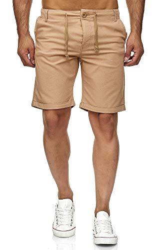 Reslad Leinenhose Kurze Hose Herren Leinen-Shorts lässige Männer Freizeithose Strandhose Stoffhose Sommer-Shorts RS-3002 Camel L