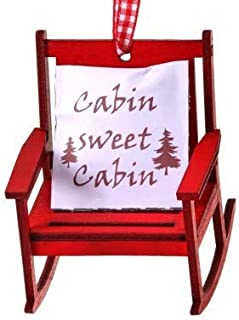 On Holiday Wood Red Rocking Chair with Cabin Sweet Cabin Pillow Christmas Tree Ornament