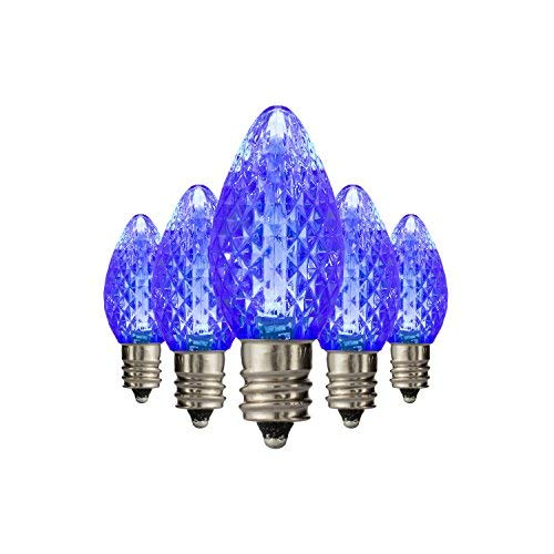 Holiday Lighting Outlet Faceted C7 Christmas Lights   Blue LED Light Bulbs Holiday Decoration   Warm Christmas Decor for Indoor & Outdoor Use   2 SMD LEDs in Each Light Bulb   Set of 25