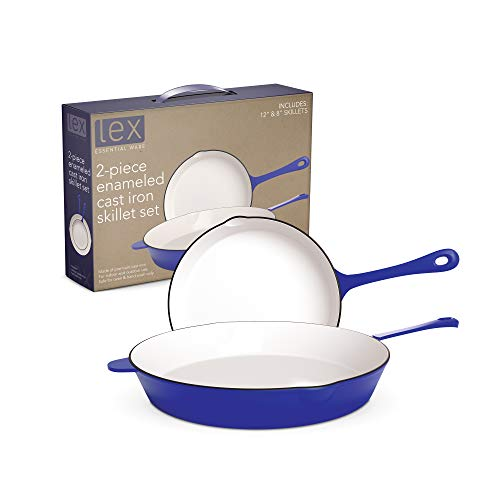 LEX 8' & 12' Enameled Cast Iron 2 Piece Skillet Set with White Inside, Professional Commercial Chef Quality For Your Home, Indoor, Outdoor, Camping, Use on Electric, Gas Stove, Oven, Blue