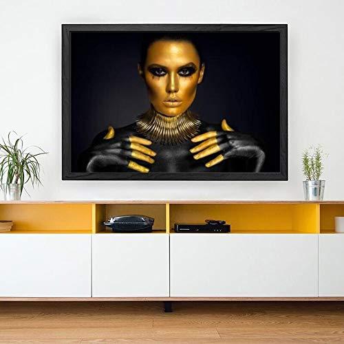 KWzEQ Imprimir en Lienzo Cartel de Mujer de Oro negromoderno y decoración para Arte de pared70x105cmPintura sin Marco