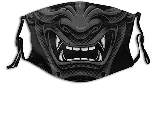 White & Red Japanese Samurai Oni Face Mask with 2 Filters,Reusable Washable Unisex Outdoor Bandana Scarf-Black Samurai Oni