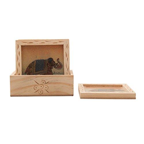 The Hue Cottage gemma Rajasthan sottobicchiere in legno realizzato a mano da cucina di elefante design sottobicchiere set di 6pezzi tavolo marrone Home Decor