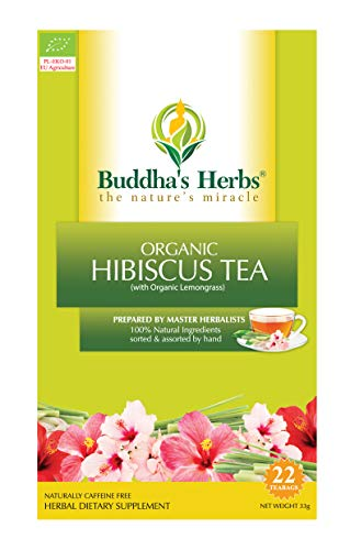 Buddha's Herbs Premium Organic Hibiscus Tea with Lemongrass - Immune (Vitamin C & Iron) and Inflammation Support -, 22 Tea Bags (Pack of 2)