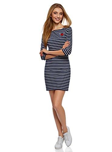 oodji Ultra Damen Kleid mit Flügelherz-Applikation, Blau, DE 32 / EU 34 / XXS