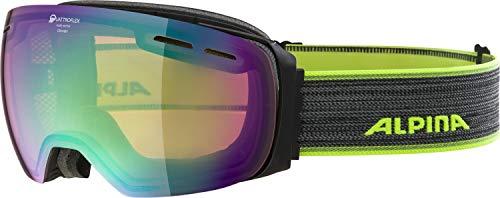ALPINA Unisex– Erwachsene Granby QHM Ski & Snowboardbrillen, Black matt Yellow, One Size