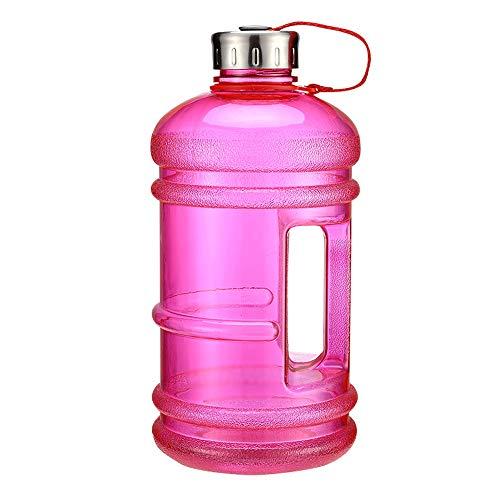 ZJY 2.2L Gran Capacidad Gimnasio Deporte Botella de Agua Fitness Mancuerna Entrada de Agua Grande Mango Antideslizante Material ecológico Deportes al Aire Libre Oficina y Escuela,Pink