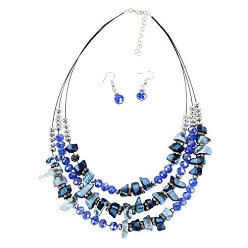 YAZILIND Conjunto de joyería de la Mujer Irregular Cuentas Multicapa Retro clavícula Cadena Collar pecesok Gota Pendientes señoras Regalo de cumpleaños(azul1)