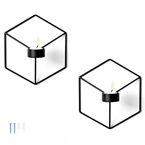Sziqiqi 2-teiliger EIN-Set Kerzenständer Schmiedeeisern geometrische Form, Stereometrischer wandmontierter Kerzenleuchter, Beleuchtung Dekoration für Wohnzimmer Esszimmer Bar, Kerzenleuchter, Schwarz