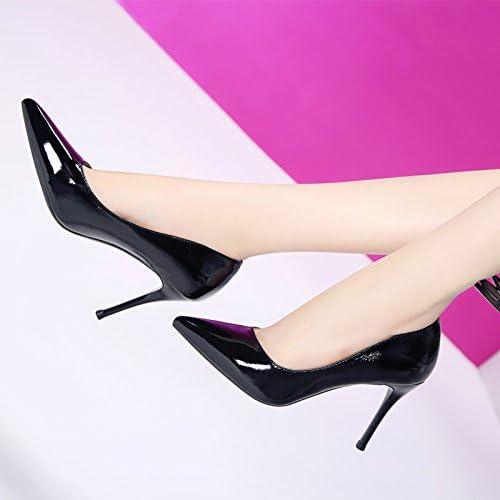 MDRW-Dame élégante Travail Loisirs Printemps Embout En Cuir Peint 9Cm Chaussures High-Heeled Suivi Fine Port Léger Chaussures Pour Femmes Chaussures Chaussures De Travail Unique