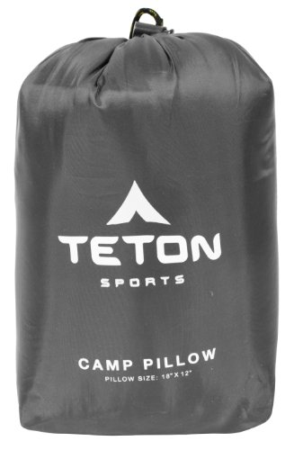 TETON Sports Camp Pillow; Great for Travel, Camping and Backpacking; Washable, Grey, 12 x 18 inches ; 9.6 ounces