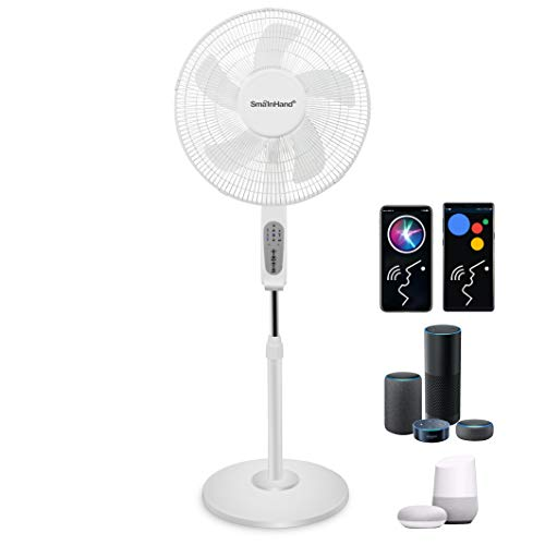 Fan, Fans Oscillating, Phone Voice Control Oscillating Fan, Alexa Google Compatible Standing Fan, WiFi Smart Stand Up Fan, SmaInHand Stand Fans For Home, House Pedestal Fan, Floor Fans for Bedroom Cooling and Sleep, Room Quiet Electric Shop High Velocity Rotating Tall Large Big Air Fan. 2.4G WiFi Only (No 5G WiFi), No Actual Remote Control