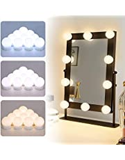 Elegear Hollywood spiegelverlichting met 3 kleurmodi, LED-ijdelheid spiegellichten 10 niveaus helderheid USB make-up spiegellicht voor cosmetische kleedkamer tabellen aanrecht, 10 dimbare lampen