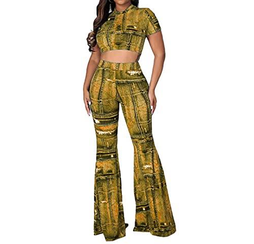 Frauen gedruckt Zweiteiliger Anzug, schlanke Fit Kurze Ärmeln Hosen eingestellt,Gelb,M