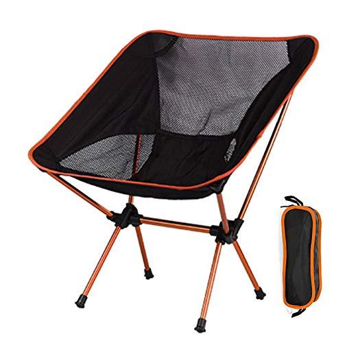 Rfgfd Klappstuhl Campingstuhl Tragbarer Outdoor-Klappstuhl aus Aluminiumlegierung, Reisestuhl Kompakter ultraleichter Klappstuhl für Camping, Angeln, Wandern, Picknick (Farbe: Orange)