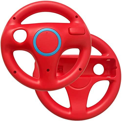 Link-e : Packung Mit 2 Roten Lenkrädern, Die Mit Dem Wiimote Controller Der Nintendo Wii / Wii-U Konsole Kompatibel Sind