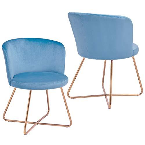 Duhome 2X Silla de Comedor de Tela (Terciopelo) Azul Claro Claro diseño Retro Silla tapizada Vintage sillón con Patas de Metal seleccion de Color 8076X