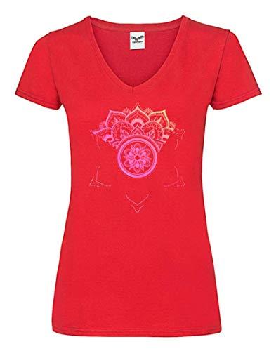 Camiseta V – Mandala Yoga Flor indio – Camiseta para mujer y mujer con cuello en V rojo S