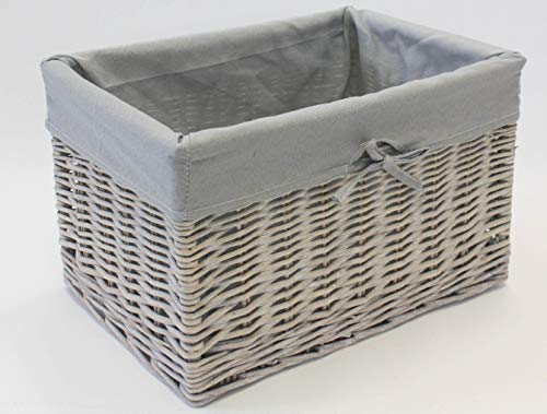 Home-ever Grey Wash Wicker Rectangle Deep Storage Basket (Medium - L 41 x W 30 x H 25cm) HE58