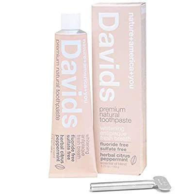 Davids Natural Toothpaste, Herbal Citrus Peppermint, Whitening, Antiplaque, Fluoride Free, SLS Free, 5.25 OZ Metal Tube, Tube Roller Included
