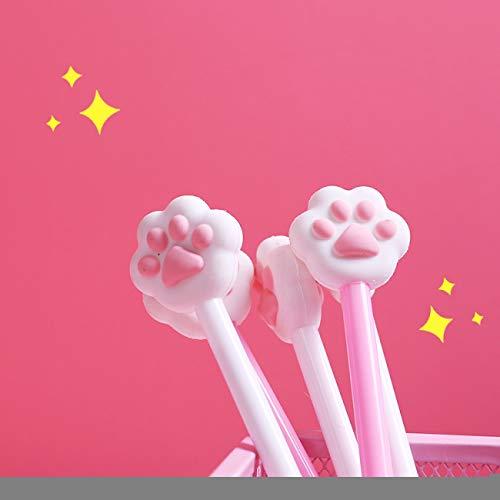 ZLYHXYR 10 Stücke Katze Footprint Gelschreiber Für Schreiben Nette Schwarze Tinte Unterschrift Stift Büro Schulbedarf