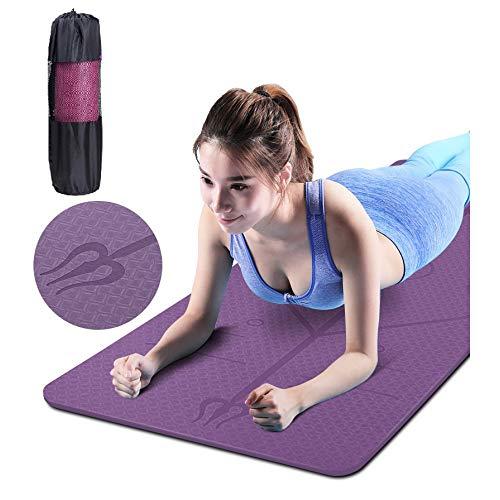 GEVJ PE Yogamat, met positielijn Antislip tapijt Gym Pads Mat, voor beginners Milieu Fitness Gymnastiekmatten Tas