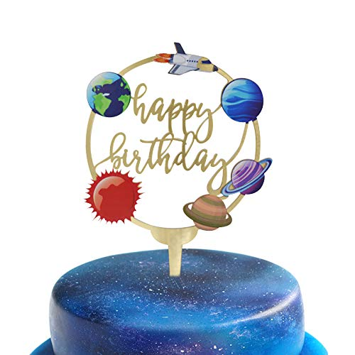 Happy Birthday Acrylic Cake Toppers for Outer Space Theme Birthday Party Decorations, Rocket Galaxy Planet Cake Toppers for Kids (Gold)