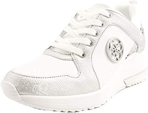 Guess Sneakers Casual Donna Pelle Bianca e Argento con Logo Laterale in Acciaio. Fondo in Gomma Bianca Antiscivolo con Rialzo. N.36