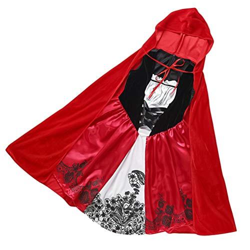 KESYOO Disfraz de Caperucita Roja para Niños Traje de Cuento de Hadas para Niños Disfraces de Disfraces de Halloween Cosplay para Niñas -Tamaño M