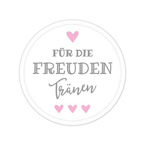Aufkleber Für die Freudentränen - Sticker mit wunderschönem Vintage Design in grau-rosa - 5 cm Durchmesser - Ideal für Hochzeit Taschentuch Hüllen (grau-rosa, 50 Stück)