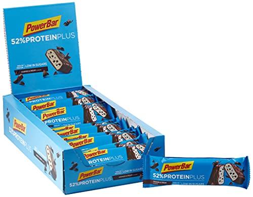 PowerBar Protein Plus 52% Cookies&Cream 20x50g - Barrette Proteiche a Basso Contenuto di Zuccheri