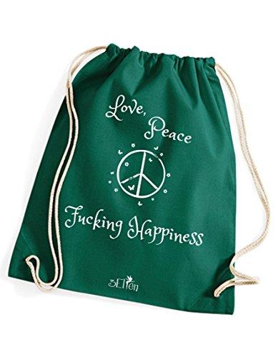 cooler Gymsack Love Peace & Fucking Happiness / Turnbeutel mit Sprüchen / Rucksack / Festival Tasche /...