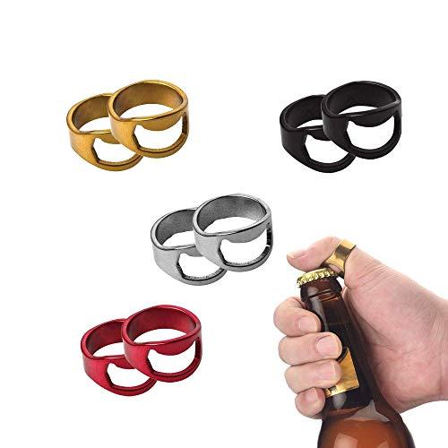 8 Pcs Abrebotellas de Cerveza, Plata del Acero Inoxidable y del dedo Pulgar Llavero Anillo de la Cerveza Abrebotellas, Anillo de Cerveza Botella abridor de Acero Inoxidable Unidades de 22 mm