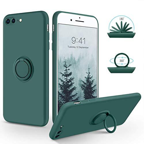 SouliGo iPhone 7 Plus Hülle, iPhone 8 Plus Hülle Handyhülle, Silikon Gel Slim Hülle Cover mit 360 Grad Ring Halter Ständer stabil Kratzfest Hülle für iPhone 7 Plus/8 Plus 5.5 Zoll Kieferngrün
