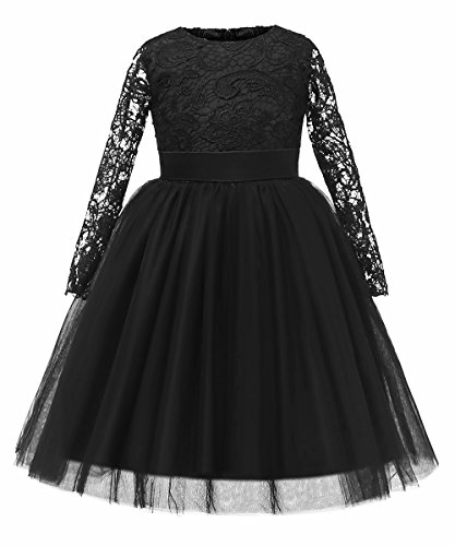 Flower Girl Dress Long Sleeves Lace Top Tulle Skirt Kids First Communion Gowns (Size 8, 03 Black)